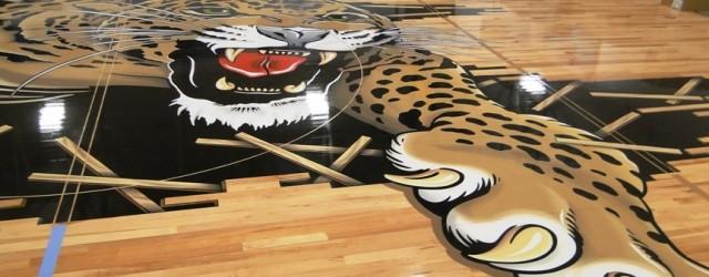 Louisville Leopards Midcourt Basketball Gym Logo