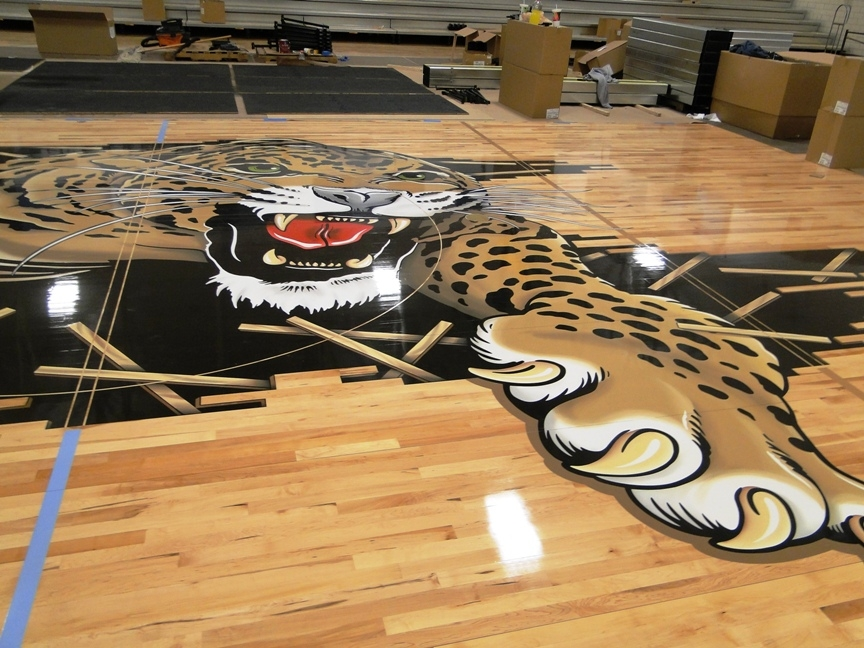 Louisville Leopards Midcourt Basketball Gym Logo
