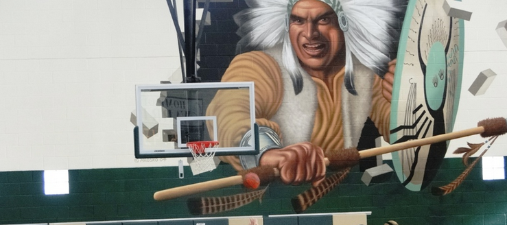 West Branch Warriors Gymnasium Wall Indian Painting