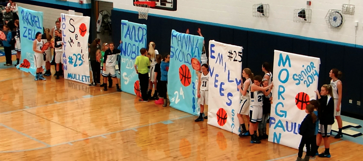 Louisville Lady Leopards Basketball Senior Night Banners 2014