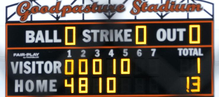 Jerry Goodpasture Stadium Scoreboard North Canton Hoover Vikings Softball