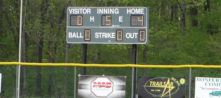 West Branch Warriors Baseball Field Scoreboard