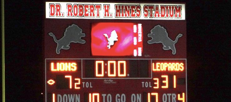 Minerva Lions Football Scoreboard, Robert H. Hines Stadium