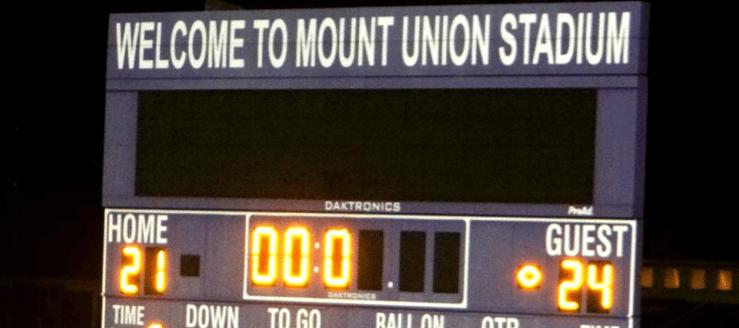 Mount Union Stadium Football Scoreboard in Alliance