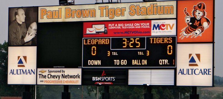 Paul Brown Tiger Stadium Scoreboard Massillon Tigers Football