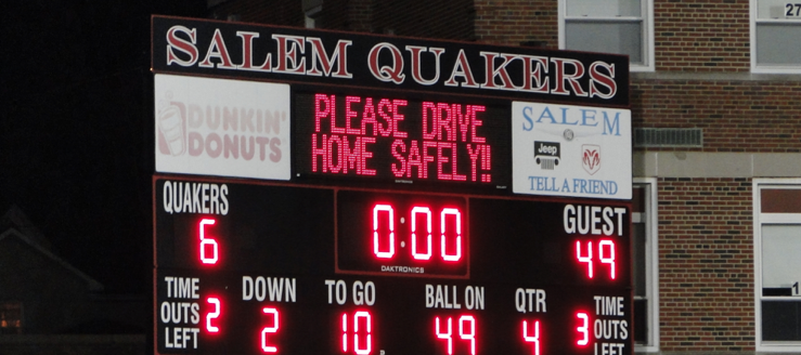 Salem Quakers Reilly Stadium Scoreboard Drive Home Safely