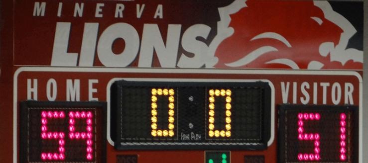 Minerva Lions Basketball Scoreboard Gym