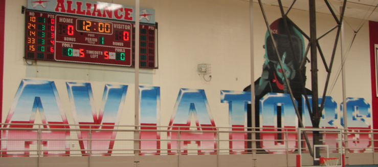 Alliance Aviators Gym Painting and Scoreboard Harry Fails Gymnasium