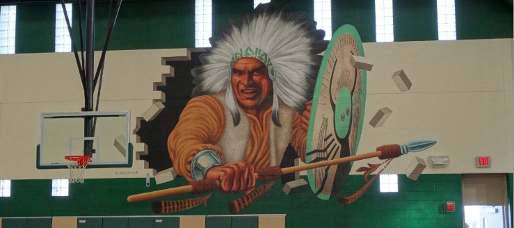 West Branch Warriors Indian Painting on Field House Wall