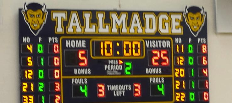 Tallmadge Blue Devils Basketball Scoreboard in THS Gym