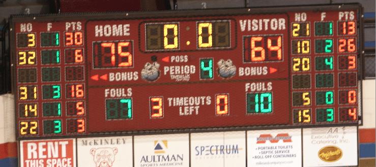 Canton Memorial Fieldhouse Baskeball Scoreboard McKinley Timken