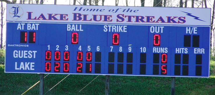 Lake Blue Streaks Baseball Scoreboard