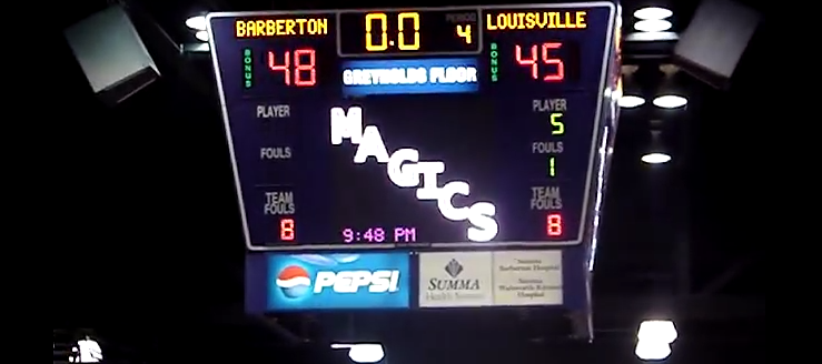 Barberton Magics Scoreboard for Basketball in Gym