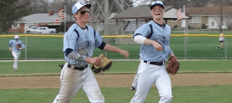 Tyler Adams & Joe Crank Louisville Leopards Double Play Vs. Minerva Lions Baseball