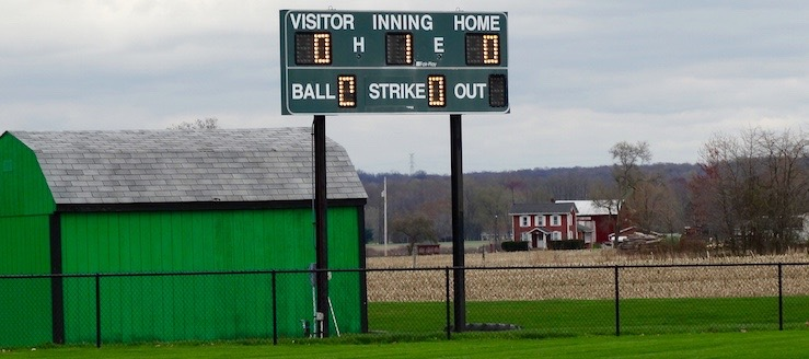 West Branch Warriors Softball Field Scoreboard & Barn