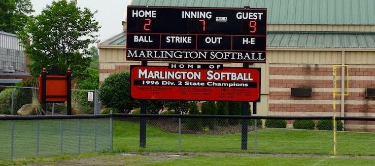 Scoreboard at Marlington Softball Field