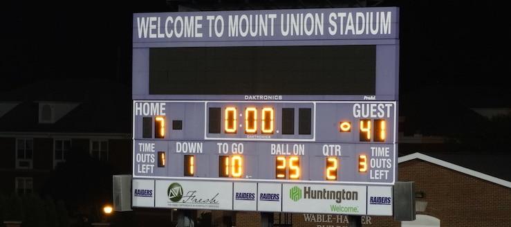 Mount Union Stadium Scoreboard Alliance Ohio