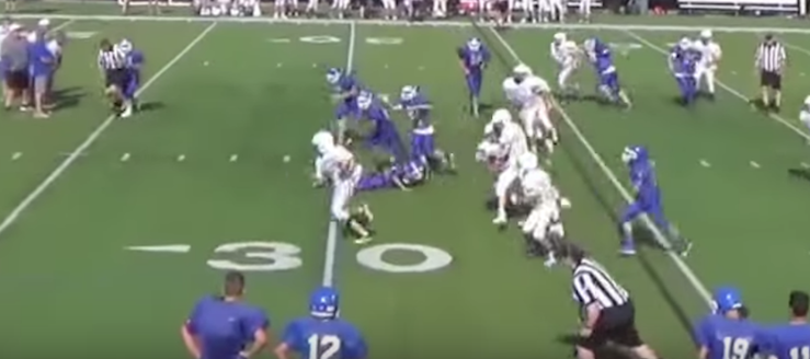 Sam Macro Fumble Recovery Louisville Leopards Vs. Lake Blue Streaks Freshman Football Scrimmage 2016