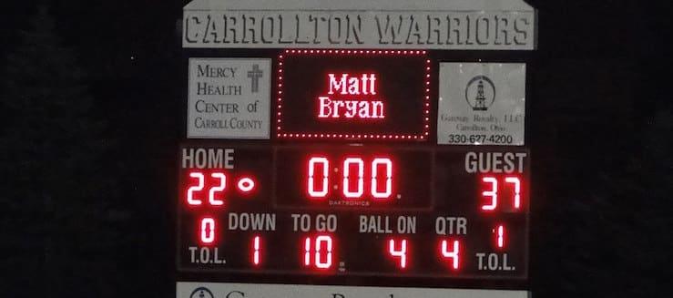 Carrollton Warriors Football Scoreboard at Community Field
