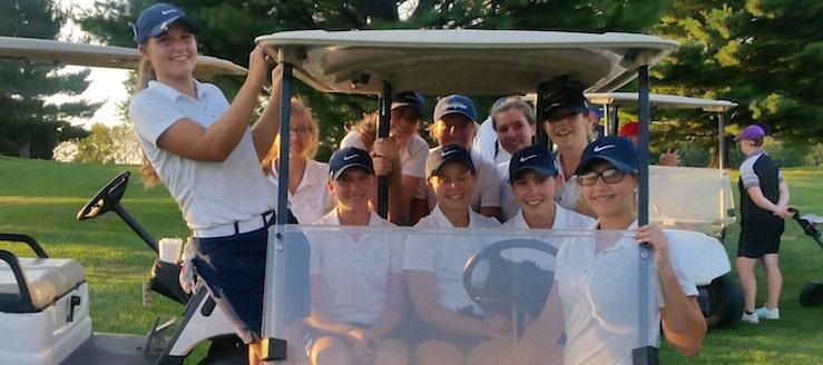 Louisville Leopards Girls Golf Team 2016 in Cart