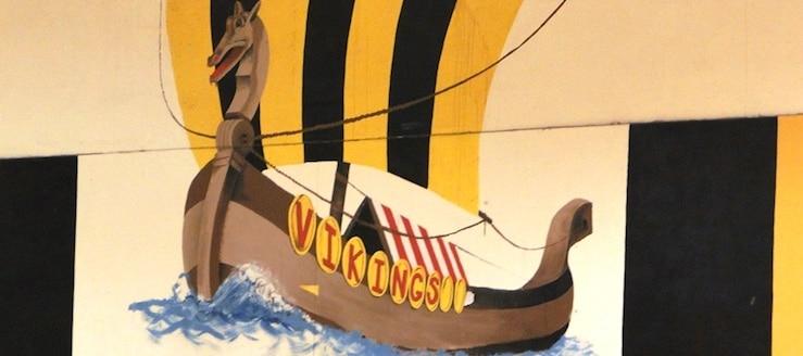 Akron North Vikings Gym Viking Ship Painting