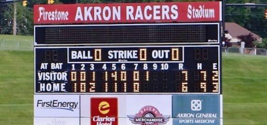 Akron Firestone Stadium Scoreboard - Akron Racers Scoreboard