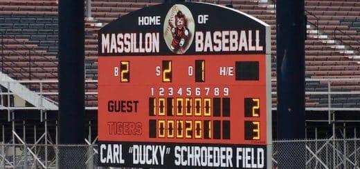 Massillon Tigers Baseball Scoreboard - Carl Ducky Schroeder