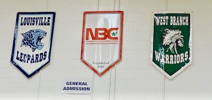 Louisville Leopards West Branch Warriors NBC Logo Gym Banners