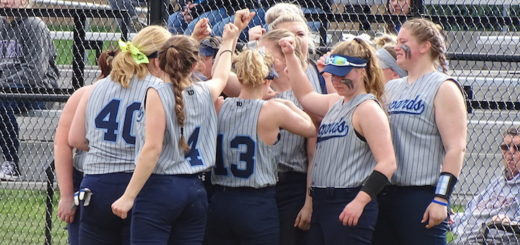 Louisville Leopards Softball Huddle Grey Uniforms 2018 at West Branch