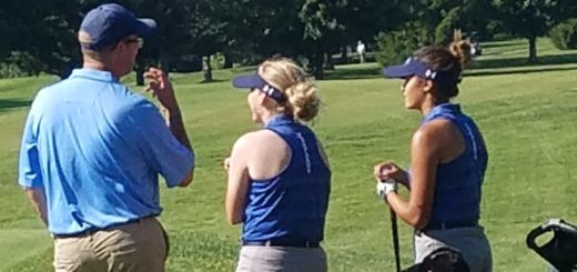 Head Coach Ted Cahill, Karli Redinger, and Katie Bice Louisville Leopards Girls Golf 2018