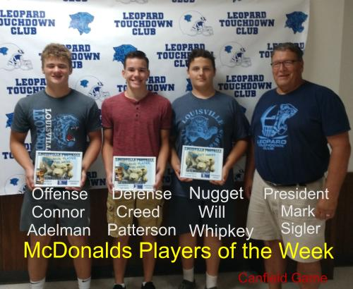 Louisville Leopards Freshman Football Players of the Week Vs. Canfield Cardinals 2018