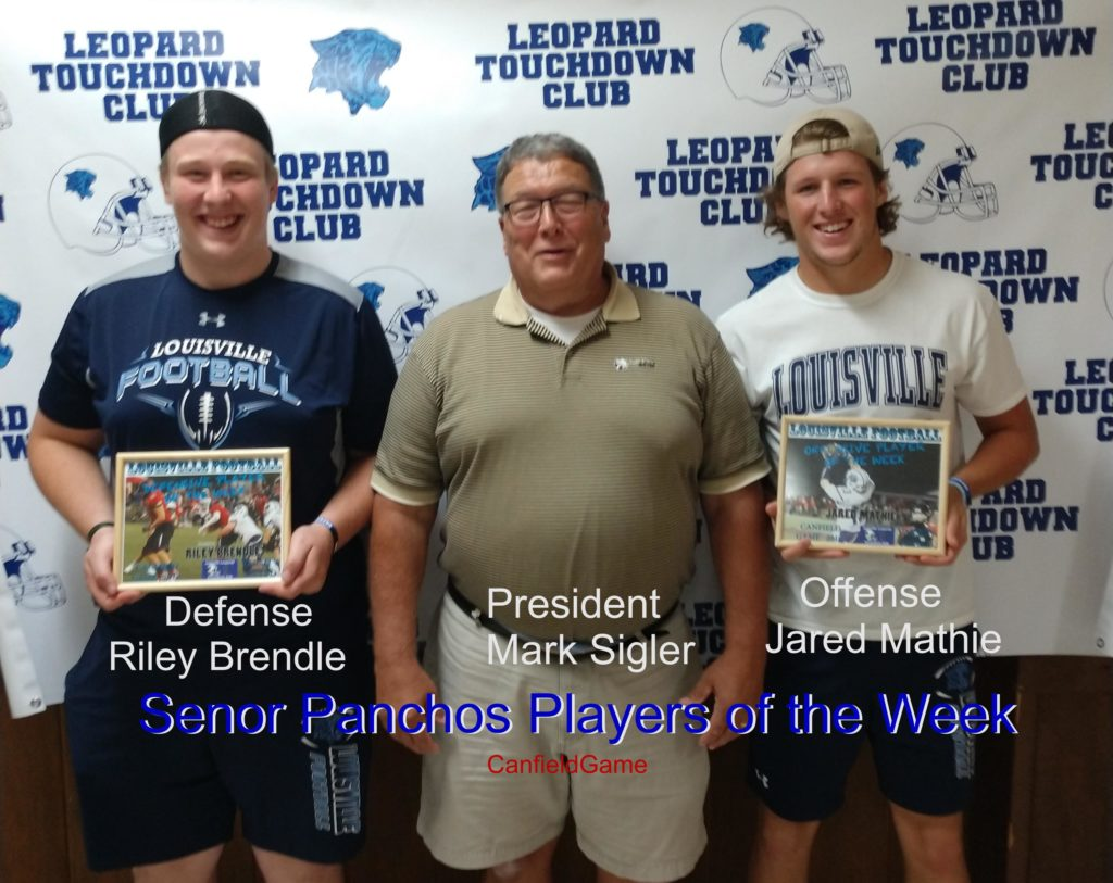 Louisville Leopards Varsity Football Players of the Week Vs. Canfield Cardinals 2018