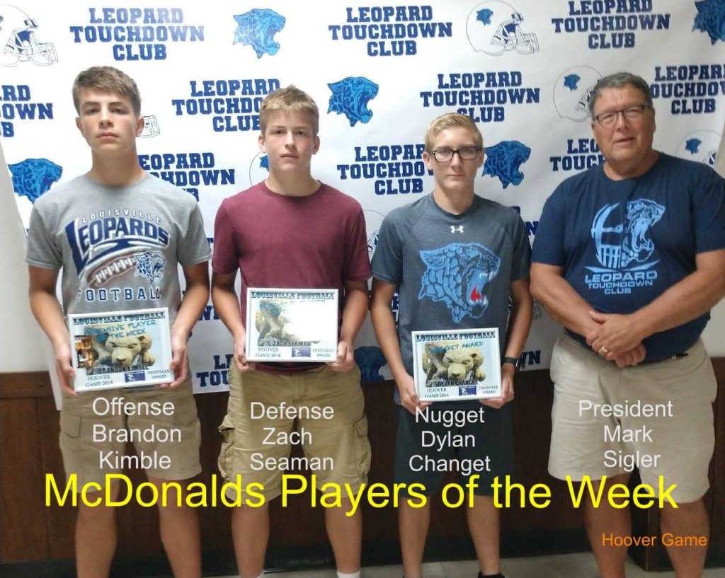 Louisville Leopards Freshman Football Players of the Week Vs. North Canton Hoover Vikings 2018