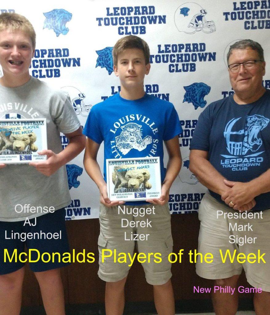 Louisville Leopards Freshman Football Players of the Week Vs. New Philadelphia Quakers 2018
