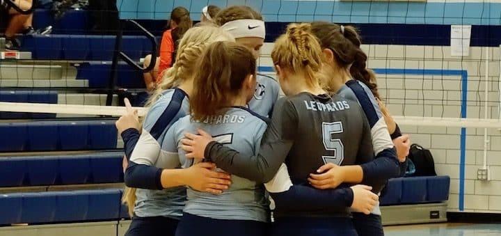 Louisville Leopards Volleyball Huddle Vs. Marlington Dukes 2018