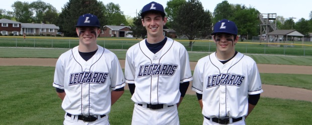 Louisville Leopards Baseball Seniors 2013 Kyle White, Riley Groves, Jeremy McQuilkin