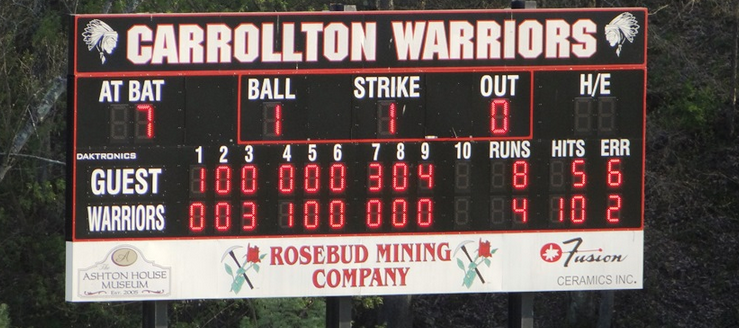 Carrollton Warriors Baseball Scoreboard Field of Dreams