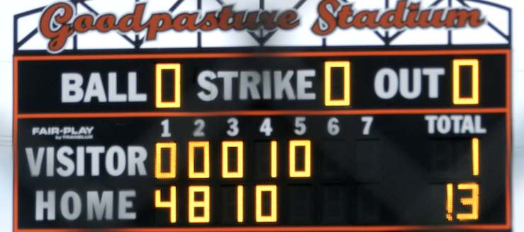 Jerry Goodpasture Stadium Scoreboard North Canton Hoover Vikings Softball