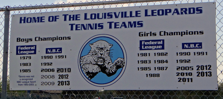 Louisville Leopards Tennis Championships Banner Sign