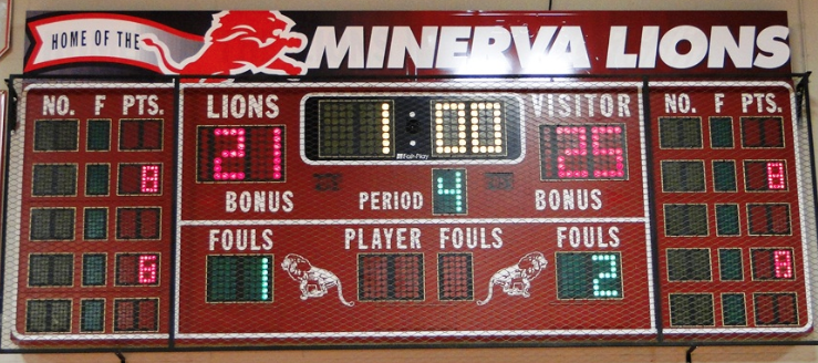 Minerva Lions Volleyball Gym Scoreboard