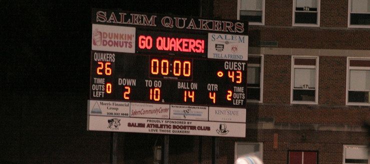 Salem Quakers Football Scoreboard - Reilly Stadium
