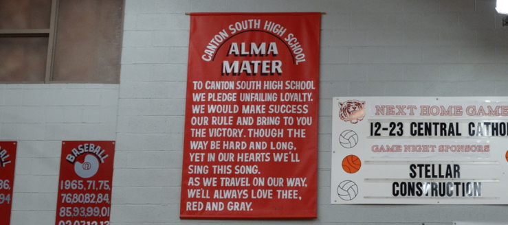 Canton South Alma Mater Banner in Gymnasium