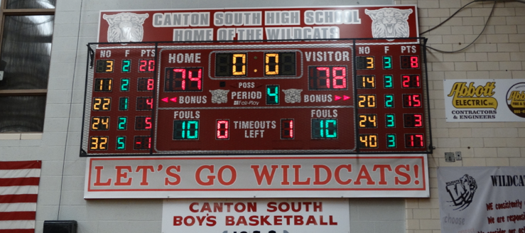 Canton South Wildcats Basketball Scoreboard Charles Red Ash Gymnasium