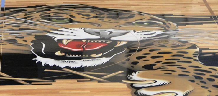 Louisville Leopards Basketball Midcourt Gym Floor