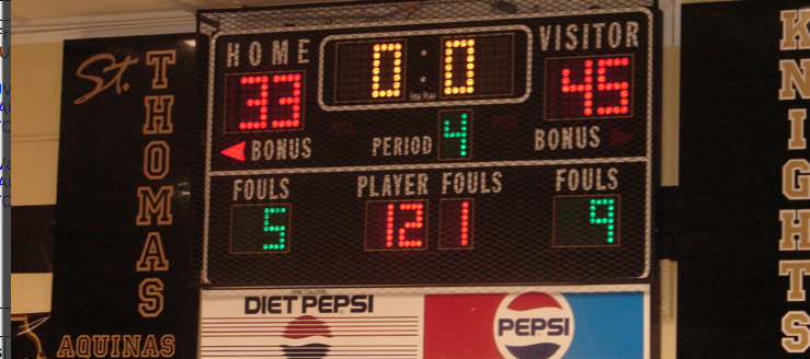 St. Thomas Aquinas Knights Basketball Gym Scoreboard