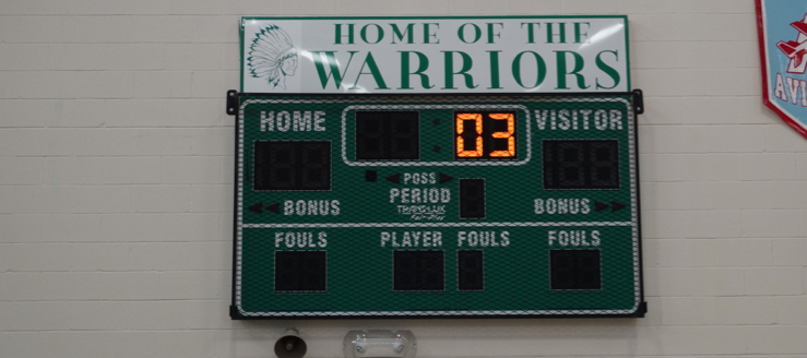 West Branch Warriors Alternate Scoreboard in Gym