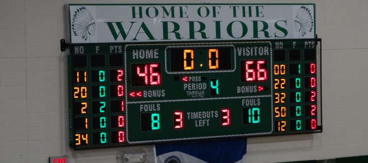 West Branch Warriors Main Scoreboard in Field House
