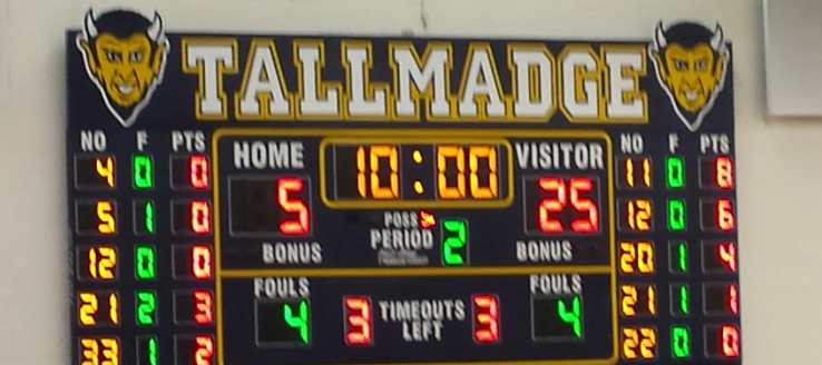 Tallmadge Blue Devils Basketball Scoreboard in THS Gym