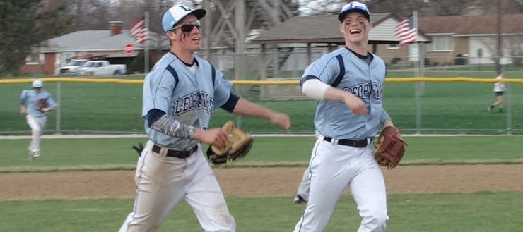Tyler Adams & Joe Crank Louisville Leopards Double Play Vs. Minerva Lions Baseball