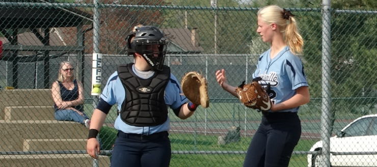 Katie Cozy & Kirsten Wharmby Louisville Leopards Softball 2015 Vs. Minerva Lions